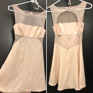 Light pink BCBG size 0 petite backless sheer dress
